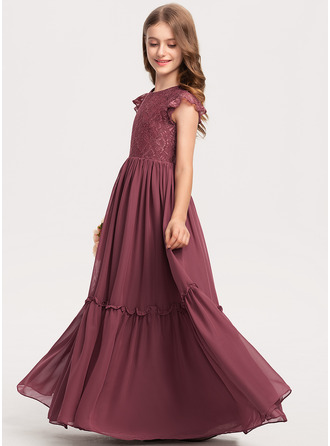 Scoop Neck Floor-Length Chiffon Lace Junior Bridesmaid Dress With Cascading Ruffles