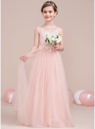 A-Line/Princess Scoop Neck Floor-Length Tulle Junior Bridesmaid Dress With Beading Sequins