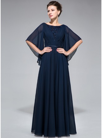 A-Line/Princess Scoop Neck Floor-Length Chiffon Mother of the Bride Dress With Ruffle Lace Beading Sequins