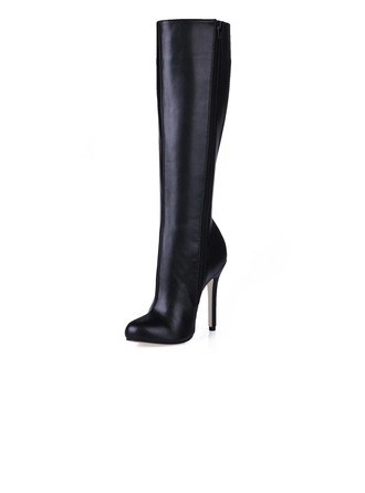Women's Leatherette Stiletto Heel Closed Toe Knee High Boots shoes