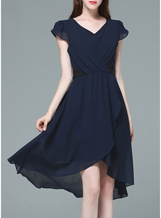 With Stitching/Resin solid color Knee Length Dress