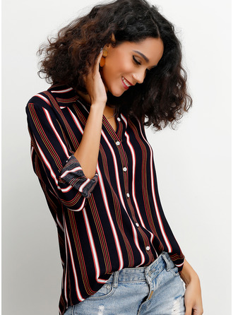 3/4 Sleeves Cotton Blends Lapel Shirt Blouses Blouses