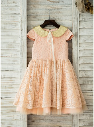 A-Line/Princess Knee-length Flower Girl Dress - Lace Short Sleeves Peter Pan Collar With Sequins