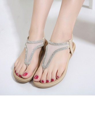 Femmes Similicuir Mesh Talon plat Tongs Sandales Beach Wedding Shoes avec Strass
