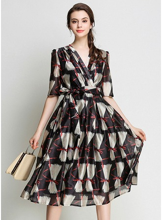 With Print Knee Length Dress