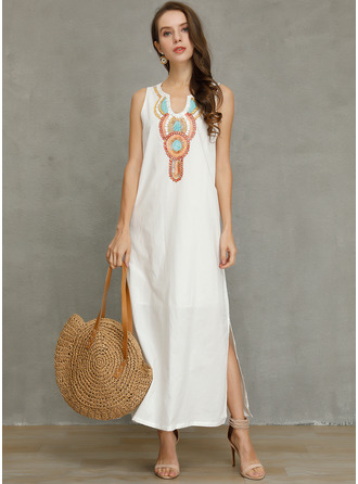 Linen With Print/Slit Maxi Dress