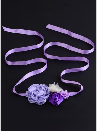 Beautiful/Flower Girl Satin Sash With Flower