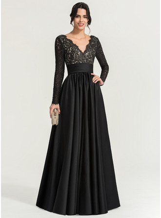 V-neck Floor-Length Satin Evening Dress