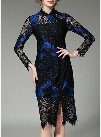 Lace mit Lace/Hollow/Zerknittern/See-through-Blick Midi Kleid