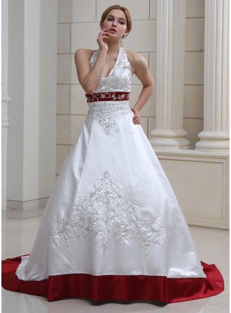 Ball Gown Halter Court Train Satin Wedding Dress With Embroidered Beading Sequins 002017730 Dresses Jjshouse