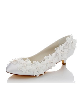 Women's Satin Low Heel Closed Toe With Flower