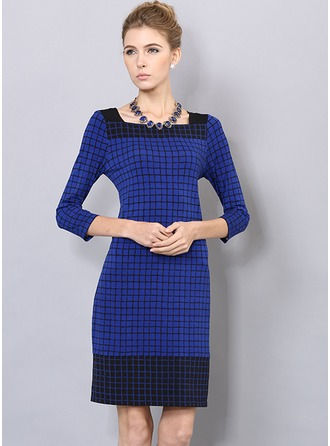 Polyester/Cotton/Jacquard With Stitching Above Knee Dress