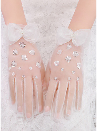Lace Wrist Length Bridal Gloves With Bow/Sequins