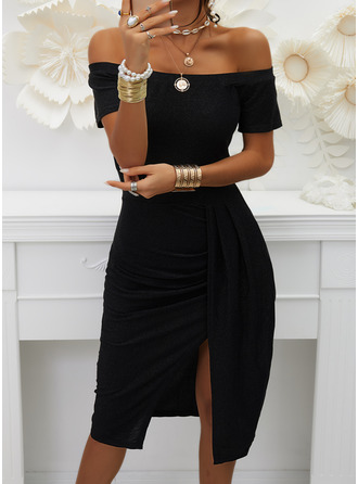Solid Sheath Off the Shoulder Short Sleeves Midi Elegant Little Black Party Dresses