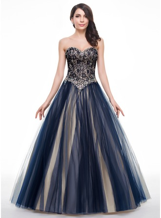 Ball-Gown Sweetheart Floor-Length Tulle Lace Prom Dresses With Beading Sequins