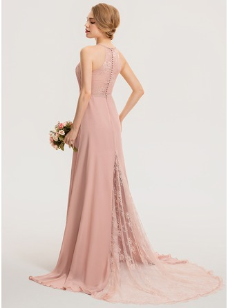 Scoop Neck Sweep Train Chiffon Lace Bridesmaid Dress With Ruffle