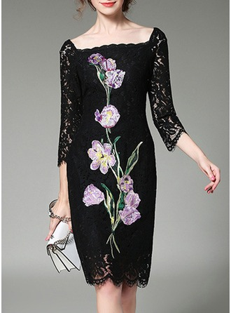 Lace With Embroidery/Hollow Knee Length Dress