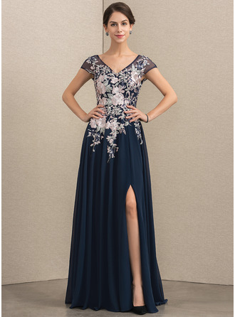 V-neck Floor-Length Chiffon Lace Mother of the Bride Dress With Split Front