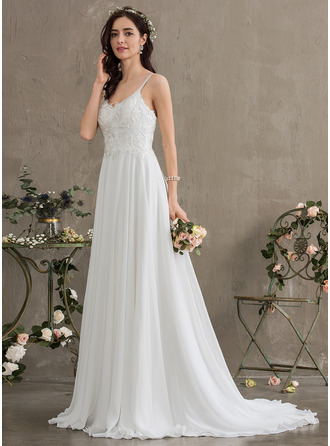 Sweetheart Sweep Train Chiffon Wedding Dress