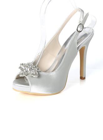 Women's Silk Like Satin Stiletto Heel Peep Toe Platform Pumps Sandals Slingbacks With Buckle Rhinestone