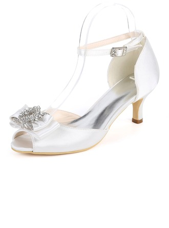Women's Silk Like Satin Stiletto Heel Peep Toe Pumps With Buckle Rhinestone