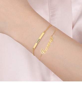 Christmas Gifts For Her - Custom 18k Gold Plated Sterling Silver Delicate Chain Bridesmaid Bracelets Name Bracelets Engraved Bracelets