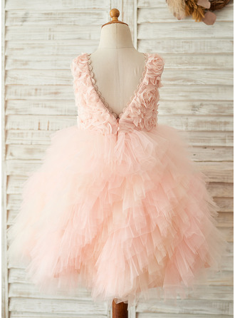 A-Line/Princess Knee-length Flower Girl Dress - Tulle Lace Sleeveless Scoop Neck With V Back