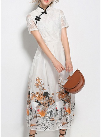 Organza With Stitching/Print Maxi Dress