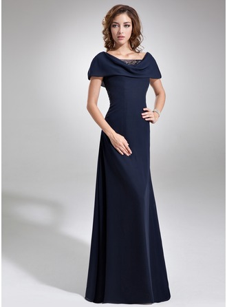 Cowl Neck Floor-Length Chiffon Mother of the Bride Dress With Ruffle Beading Sequins