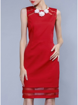 Polyester/Cotton With Stitching Above Knee Dress