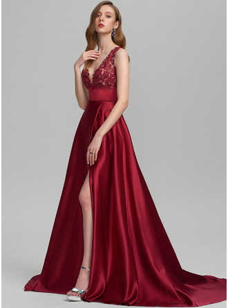 V-neck Sweep Train Satin Prom Dresses With Sequins Split Front