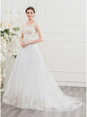A-Line/Princess Scoop Neck Court Train Tulle Lace Wedding Dress With Beading Sequins