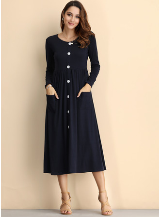 Cotton/Linen With Button/Resin solid color Midi Dress