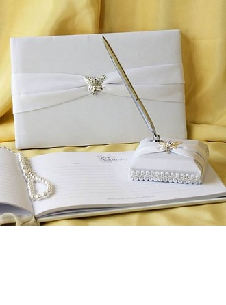 Butterfly Design Rhinestones Guestbook & Pen Set
