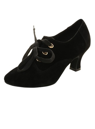 Women's Suede Heels Pumps Ballroom Swing Dance Shoes