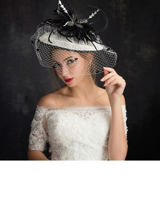 Dames Mode Feather/Fil net/Dentelle/Tulle/Lin avec Feather Chapeaux de type fascinator