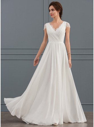A Line/Princess V Neck Floor Length Chiffon Lace Wedding Dress With
