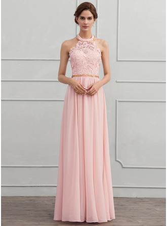 Halter Floor-Length Chiffon Evening Dress
