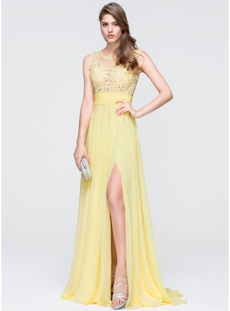 A-Line Scoop Neck Sweep Train Chiffon Prom Dresses With Beading Sequins Split Front