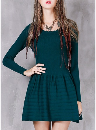 Cotton With Stitching/Ruffles Above Knee Dress