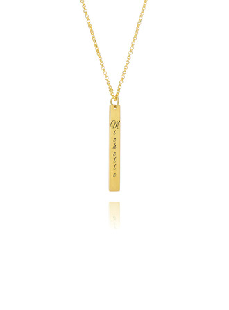 Custom 18k Gold Plated Silver Engraving/Engraved Bar Necklace