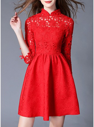 Lace With Hollow Above Knee Dress