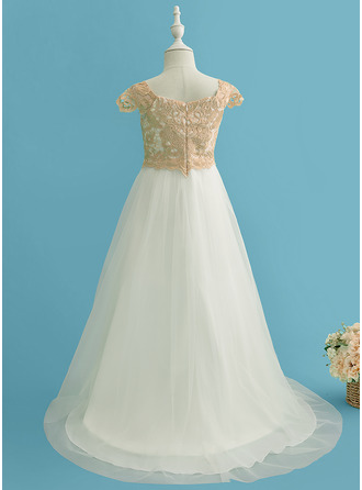 Sweep Train Flower Girl Dress - Tulle Lace Short Sleeves Scoop Neck