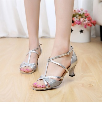 Women's Leatherette Heels Sandals Latin With T-Strap Buckle Dance Shoes