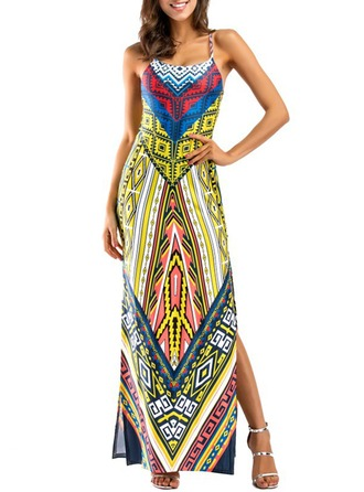 Artificial Fiber With Print Maxi Dress
