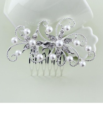 Ladies Pretty Alloy Combs & Barrettes With Rhinestone/Venetian Pearl (Sold in single piece)