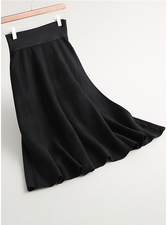 Knitting Plain Maxi A-Line Skirts