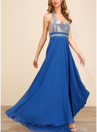 Polyester With Sequins/Crumple/Solid Maxi Dress