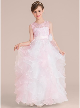 Ball Gown Floor-length Flower Girl Dress - Organza/Charmeuse/Lace Sleeveless Scoop Neck With Flower(s)