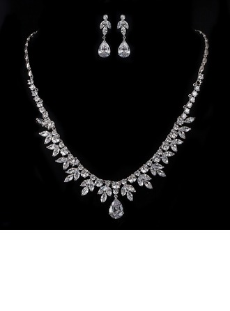 Leaves Shaped Zircon/Platinum Plated Ladies' Jewelry Sets